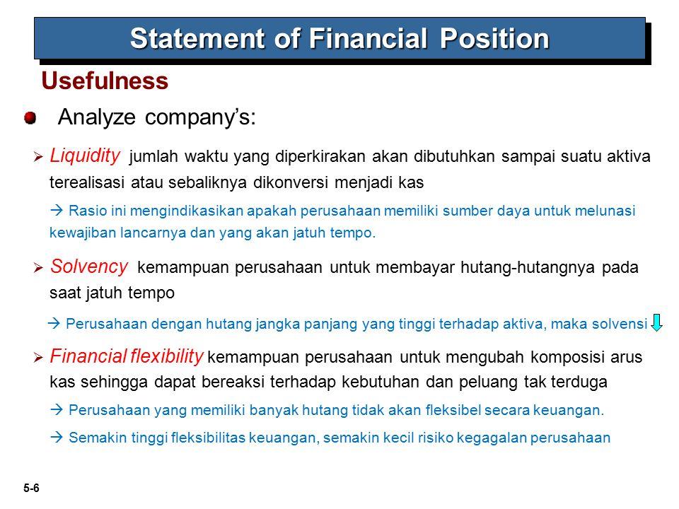 5-6 Analyze company's:  Liquidity jumlah waktu yang diperkirakan akan dibutuhkan sampai suatu aktiva terealisasi atau sebaliknya dikonversi menjadi k