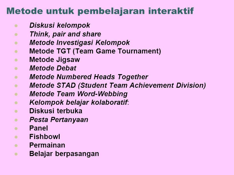 Metode untuk pembelajaran interaktif Diskusi kelompok Think, pair and share Metode Investigasi Kelompok Metode TGT (Team Game Tournament) Metode Jigsa