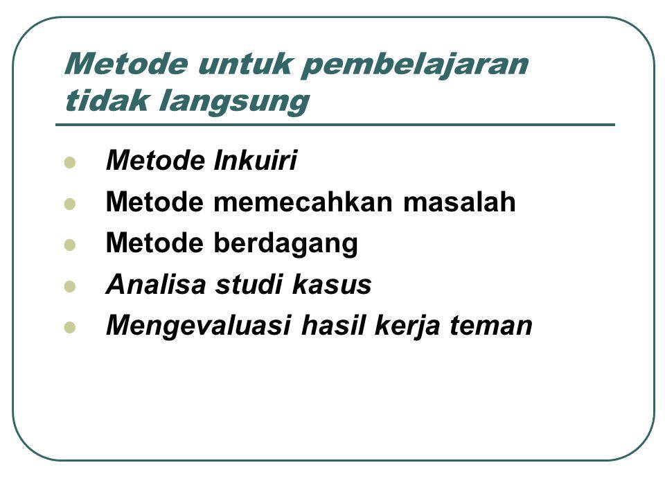 Metode untuk pembelajaran tidak langsung Metode Inkuiri Metode memecahkan masalah Metode berdagang Analisa studi kasus Mengevaluasi hasil kerja teman