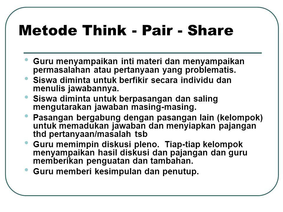Guru menyampaikan inti materi dan menyampaikan permasalahan atau pertanyaan yang problematis. Siswa diminta untuk berfikir secara individu dan menulis