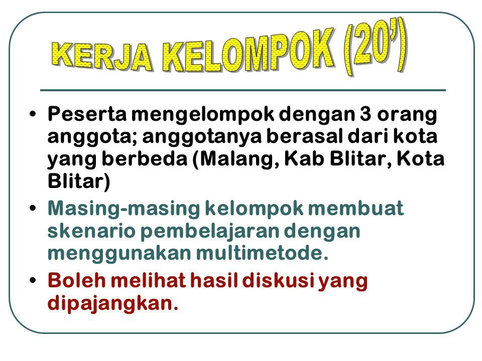 Peserta mengelompok dengan 3 orang anggota; anggotanya berasal dari kota yang berbeda (Malang, Kab Blitar, Kota Blitar) Masing-masing kelompok membuat