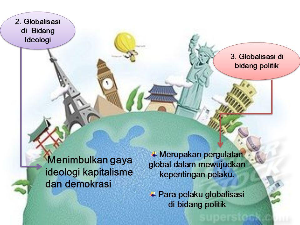 2. Globalisasi di Bidang Ideologi 2. Globalisasi di Bidang Ideologi 3. Globalisasi di bidang politik 3. Globalisasi di bidang politik M enimbulkan gay