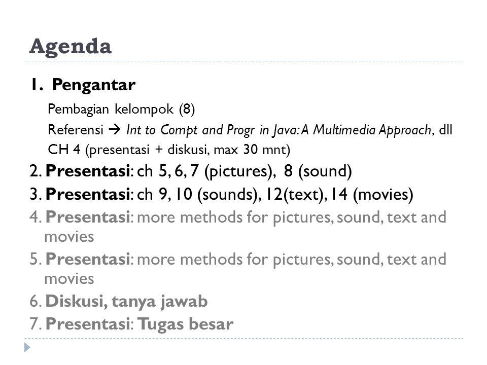 Agenda 1. Pengantar Pembagian kelompok (8) Referensi  Int to Compt and Progr in Java: A Multimedia Approach, dll CH 4 (presentasi + diskusi, max 30 m