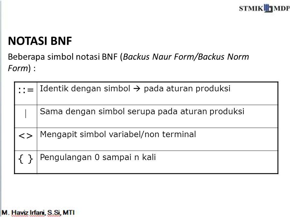 NOTASI BNF Beberapa simbol notasi BNF (Backus Naur Form/Backus Norm Form) : ::= Identik dengan simbol  pada aturan produksi  Sama dengan simbol seru