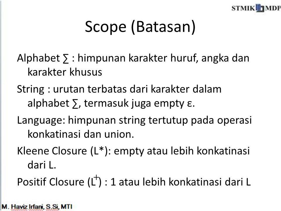 Scope (Batasan) Alphabet ∑ : himpunan karakter huruf, angka dan karakter khusus String : urutan terbatas dari karakter dalam alphabet ∑, termasuk juga
