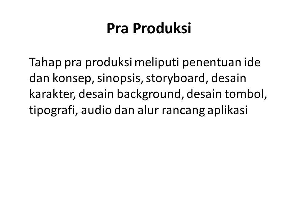 Pra Produksi Tahap pra produksi meliputi penentuan ide dan konsep, sinopsis, storyboard, desain karakter, desain background, desain tombol, tipografi,