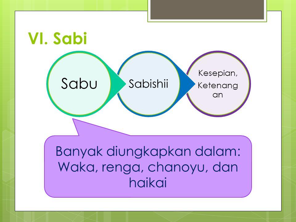 VI. Sabi Kesepian, Ketenang an Sabishii Sabu Banyak diungkapkan dalam: Waka, renga, chanoyu, dan haikai