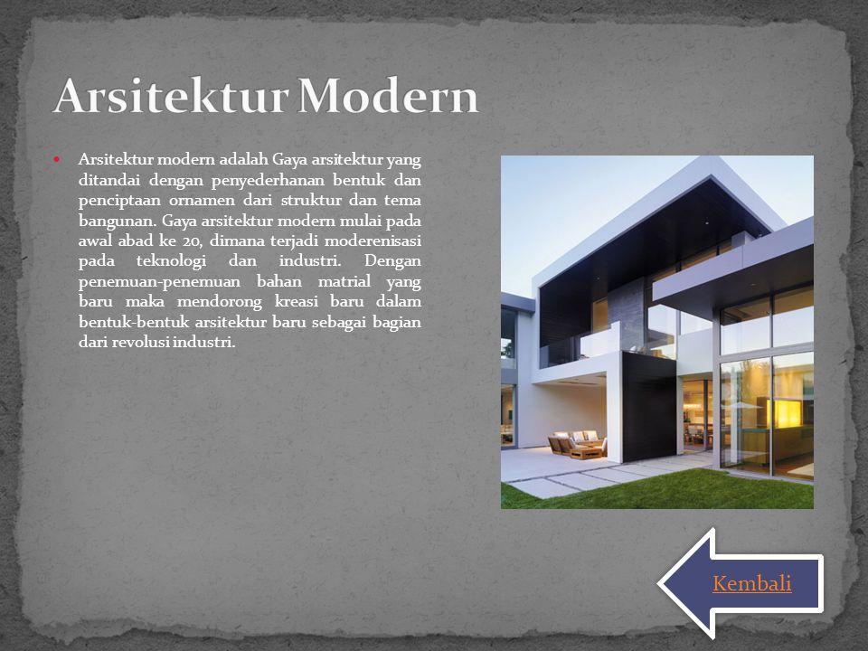 Arsitektur modern adalah Gaya arsitektur yang ditandai dengan penyederhanan bentuk dan penciptaan ornamen dari struktur dan tema bangunan. Gaya arsite