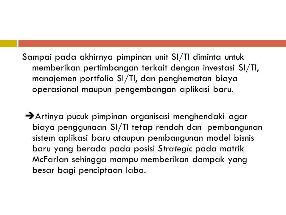 Sampai pada akhirnya pimpinan unit SI/TI diminta untuk memberikan pertimbangan terkait dengan investasi SI/TI, manajemen portfolio SI/TI, dan penghema