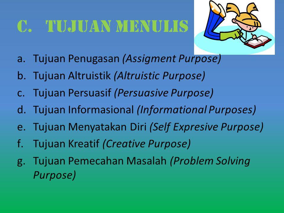 c.TUJUAN MENULIS a.Tujuan Penugasan (Assigment Purpose) b.Tujuan Altruistik (Altruistic Purpose) c.Tujuan Persuasif (Persuasive Purpose) d.Tujuan Informasional (Informational Purposes) e.Tujuan Menyatakan Diri (Self Expresive Purpose) f.Tujuan Kreatif (Creative Purpose) g.Tujuan Pemecahan Masalah (Problem Solving Purpose)