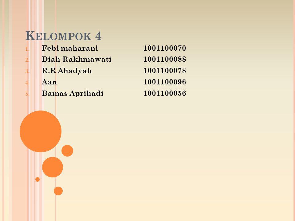 K ELOMPOK 4 1.Febi maharani1001100070 2. Diah Rakhmawati1001100088 3.