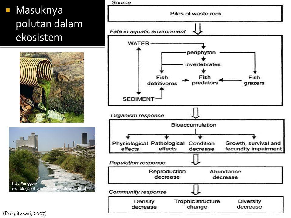  Masuknya polutan dalam ekosistem (Puspitasari, 2007) http://anggun- eva.blogspot.com/2012/05/polusi-air.html