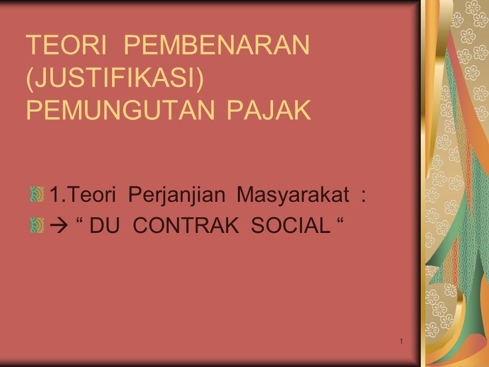 """1 TEORI PEMBENARAN (JUSTIFIKASI) PEMUNGUTAN PAJAK 1.Teori Perjanjian Masyarakat :  """" DU CONTRAK SOCIAL """""""
