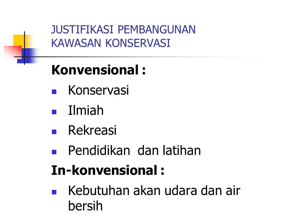 JUSTIFIKASI PEMBANGUNAN KAWASAN KONSERVASI Konvensional : Konservasi Ilmiah Rekreasi Pendidikan dan latihan In-konvensional : Kebutuhan akan udara dan