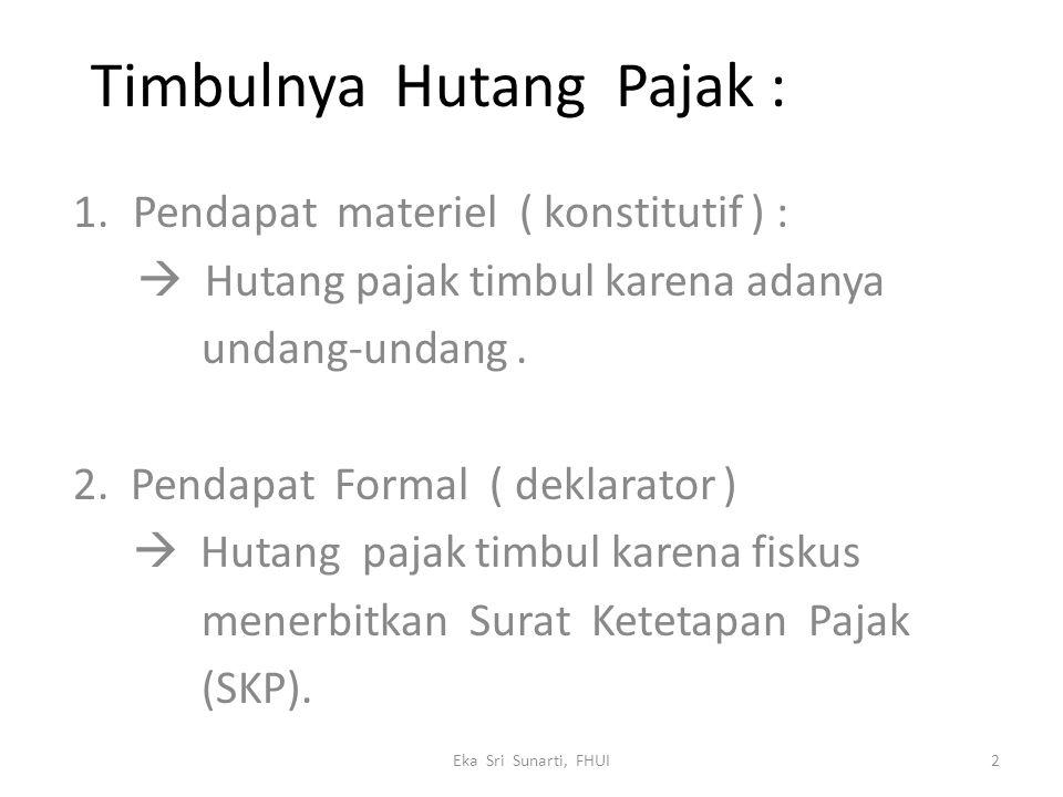 Timbulnya Hutang Pajak : 1.Pendapat materiel ( konstitutif ) :  Hutang pajak timbul karena adanya undang-undang.