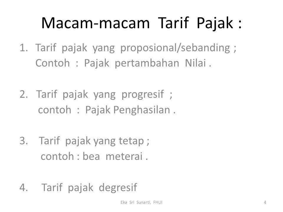 Macam-macam Tarif Pajak : 1.Tarif pajak yang proposional/sebanding ; Contoh : Pajak pertambahan Nilai.