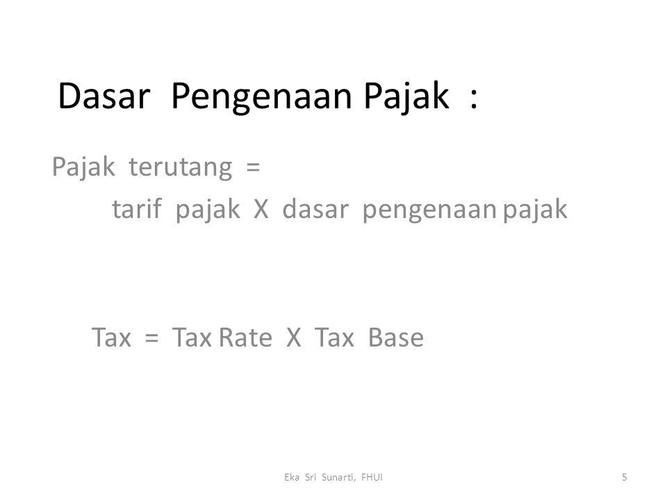 Dasar Pengenaan Pajak : Pajak terutang = tarif pajak X dasar pengenaan pajak Tax = Tax Rate X Tax Base 5Eka Sri Sunarti, FHUI