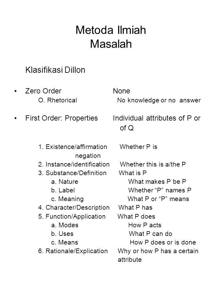 Metoda Ilmiah Masalah Klasifikasi Dillon Zero Order None O. Rhetorical No knowledge or no answer First Order: Properties Individual attributes of P or