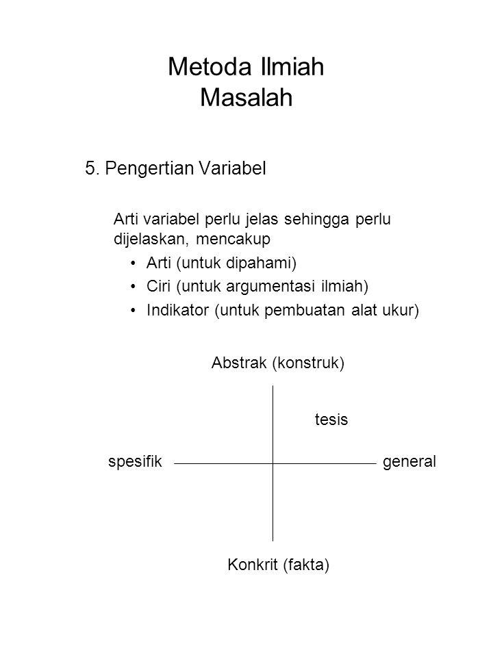Metoda Ilmiah Masalah 5. Pengertian Variabel Arti variabel perlu jelas sehingga perlu dijelaskan, mencakup Arti (untuk dipahami) Ciri (untuk argumenta