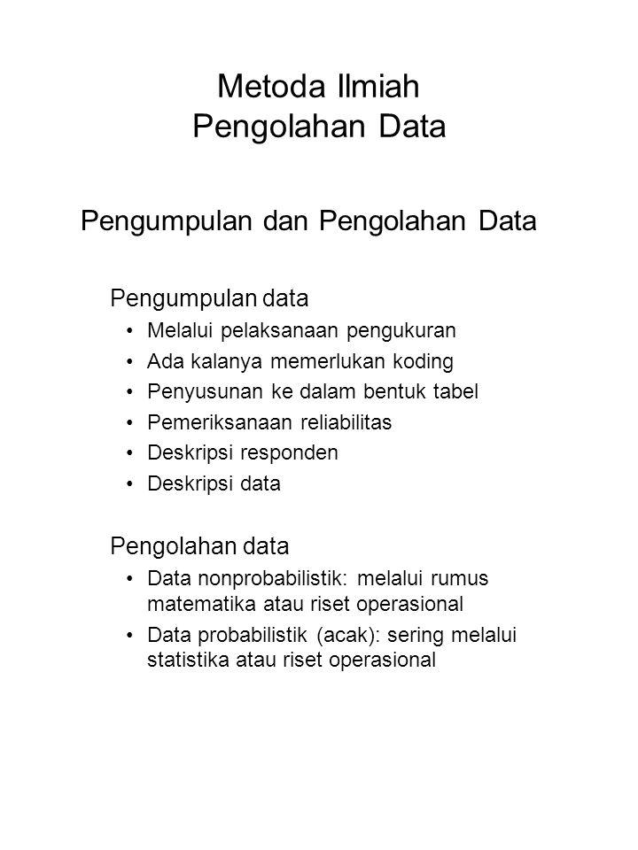 Metoda Ilmiah Pengolahan Data Pengumpulan dan Pengolahan Data Pengumpulan data Melalui pelaksanaan pengukuran Ada kalanya memerlukan koding Penyusunan