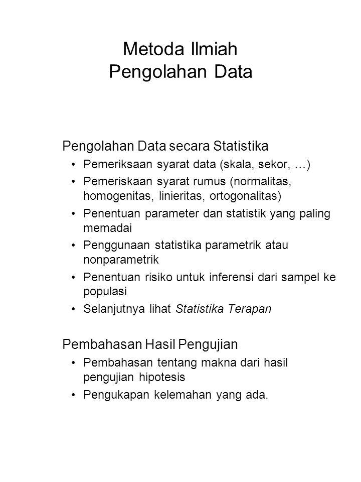 Metoda Ilmiah Pengolahan Data Pengolahan Data secara Statistika Pemeriksaan syarat data (skala, sekor, …) Pemeriskaan syarat rumus (normalitas, homoge