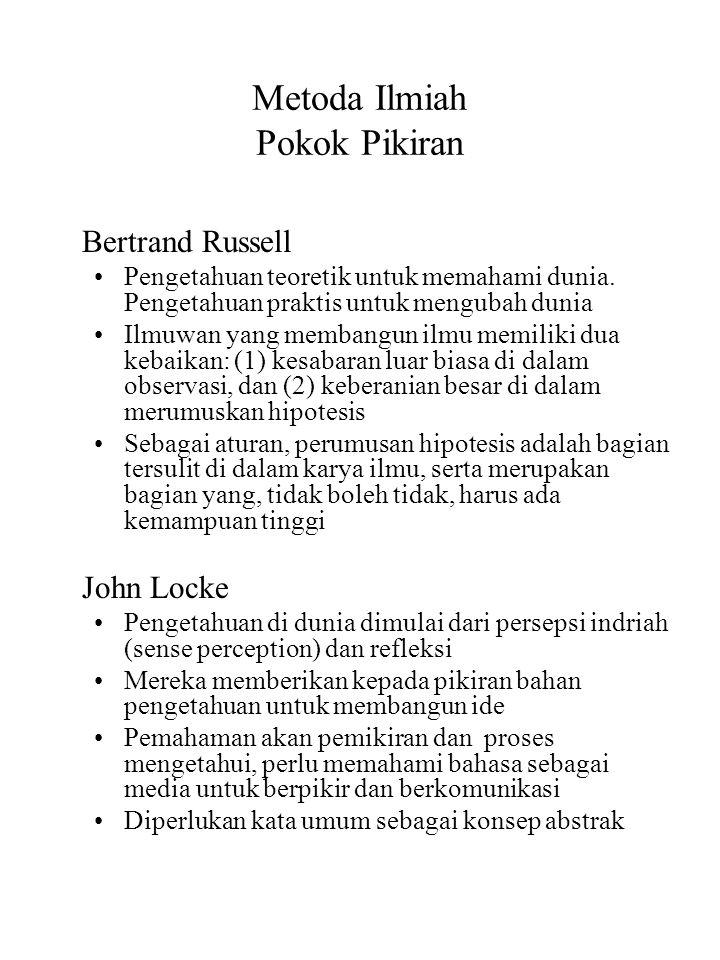 Metoda Ilmiah Pokok Pikiran Bertrand Russell Pengetahuan teoretik untuk memahami dunia. Pengetahuan praktis untuk mengubah dunia Ilmuwan yang membangu