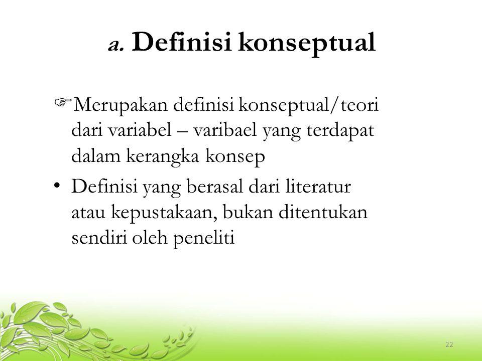 23 Contoh definisi konseptual Variabel sehat – Definisi konseptual; Sehat adalah kondisi tidak sakit atau gejala – gejala yang mencerminkan berbagai keragaman kondisi kesehatan seseorang