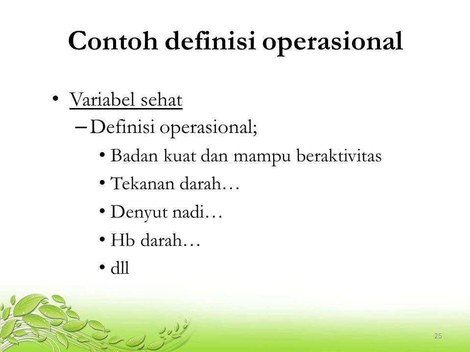 26 Exercise… Buatlah definisi konseptual dan definisi operasional dari kerangka konsep di bawah ini.