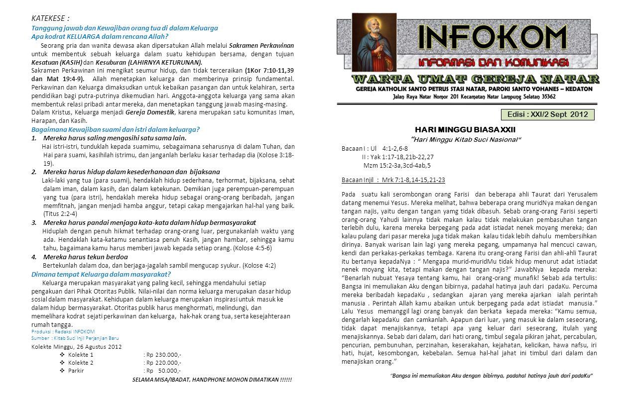 Edisi : XXI/2 Sept 2012 HARI MINGGU BIASA XXII Hari Minggu Kitab Suci Nasional Bacaan I : Ul 4:1-2,6-8 II : Yak 1:17-18,21b-22,27 Mzm 15:2-3a,3cd-4ab,5 Bacaan Injil : Mrk 7:1-8,14-15,21-23 Bangsa ini memuliakan Aku dengan bibirnya, padahal hatinya jauh dari padaKu SELAMA MISA/IBADAT, HANDPHONE MOHON DIMATIKAN !!!!!.