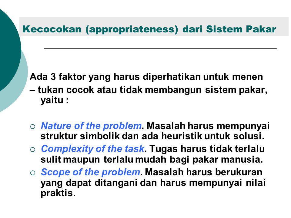 Kecocokan (appropriateness) dari Sistem Pakar Ada 3 faktor yang harus diperhatikan untuk menen – tukan cocok atau tidak membangun sistem pakar, yaitu