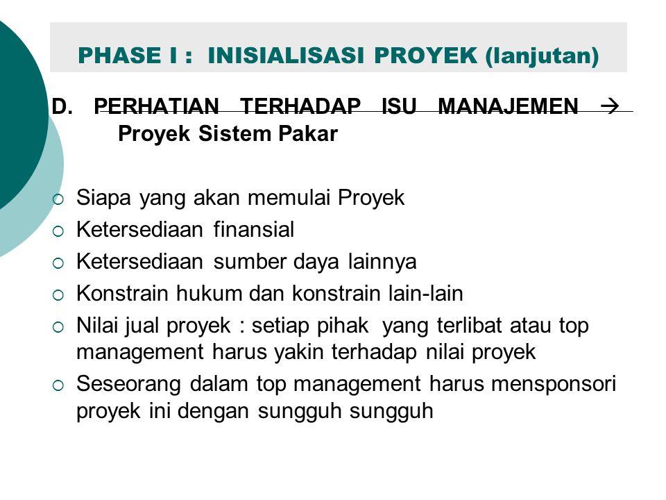 PHASE I : INISIALISASI PROYEK (lanjutan) D. PERHATIAN TERHADAP ISU MANAJEMEN  Proyek Sistem Pakar  Siapa yang akan memulai Proyek  Ketersediaan fin