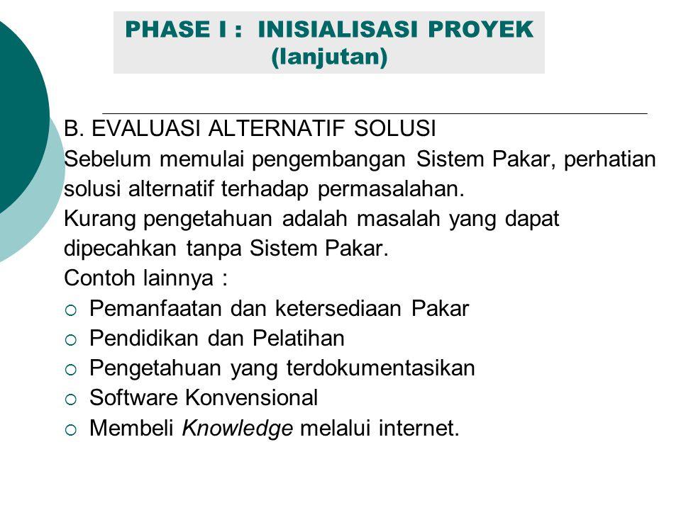 PHASE I : INISIALISASI PROYEK (lanjutan) B. EVALUASI ALTERNATIF SOLUSI Sebelum memulai pengembangan Sistem Pakar, perhatian solusi alternatif terhadap