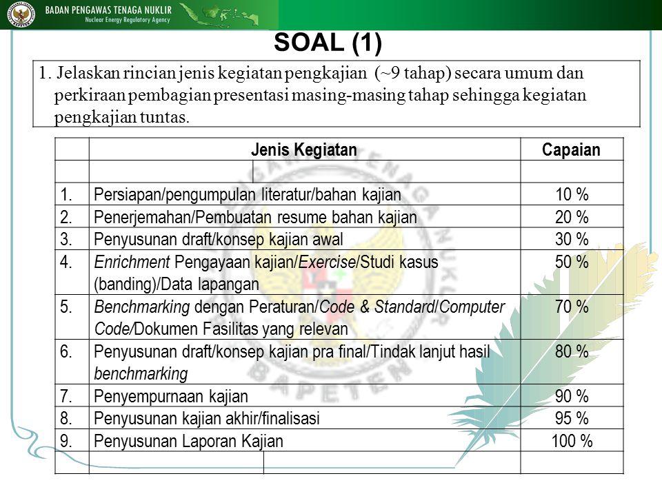 SOAL (1) 1. Jelaskan rincian jenis kegiatan pengkajian (~9 tahap) secara umum dan perkiraan pembagian presentasi masing-masing tahap sehingga kegiatan