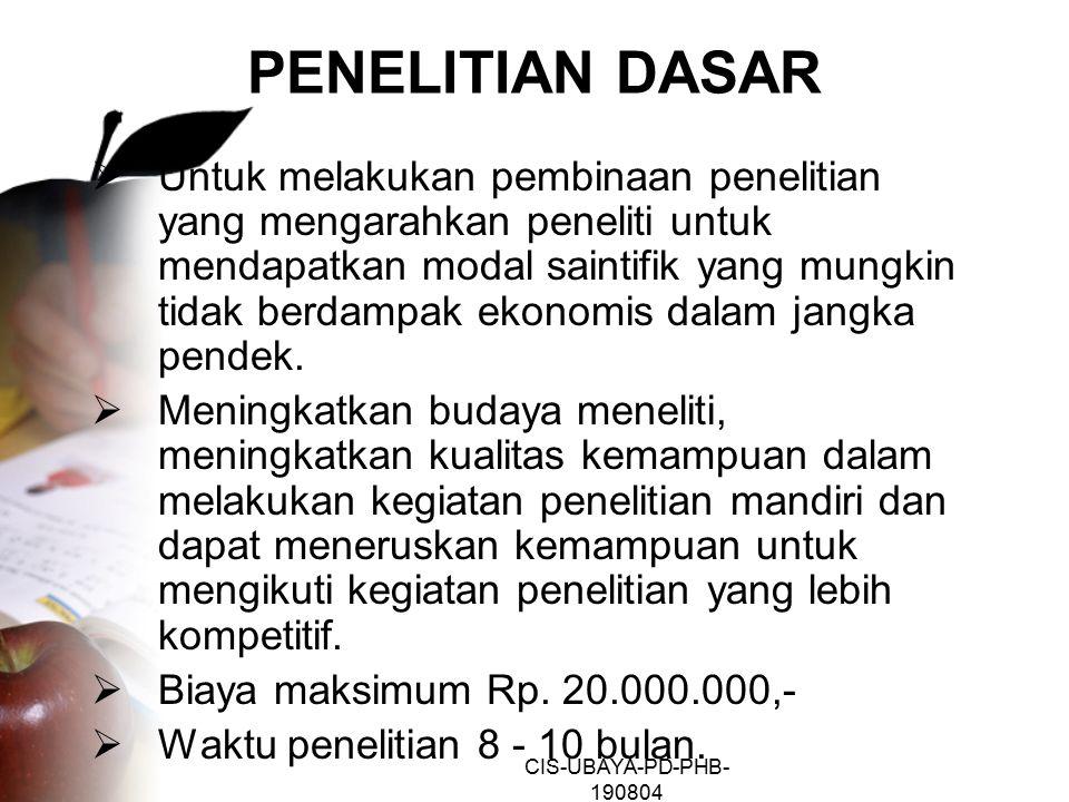 CIS-UBAYA-PD-PHB- 190804 PENELITIAN DASAR C. Imam Sutrisno Jl. Trunojoyo X/30 Semarang-50267 Telp/Fax. 0247473209 e-mail: ci_sutrisno@plasa.com