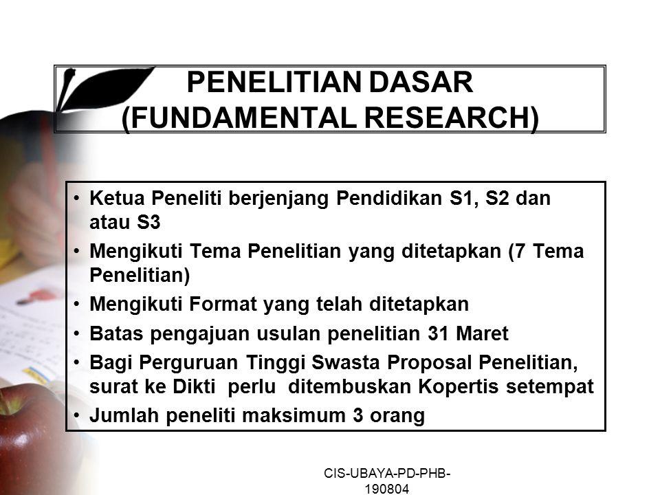 CIS-UBAYA-PD-PHB- 190804 PENELITIAN DASAR (FUNDAMENTAL RESEARCH) Ketua Peneliti berjenjang Pendidikan S1, S2 dan atau S3 Mengikuti Tema Penelitian yang ditetapkan (7 Tema Penelitian) Mengikuti Format yang telah ditetapkan Batas pengajuan usulan penelitian 31 Maret Bagi Perguruan Tinggi Swasta Proposal Penelitian, surat ke Dikti perlu ditembuskan Kopertis setempat Jumlah peneliti maksimum 3 orang