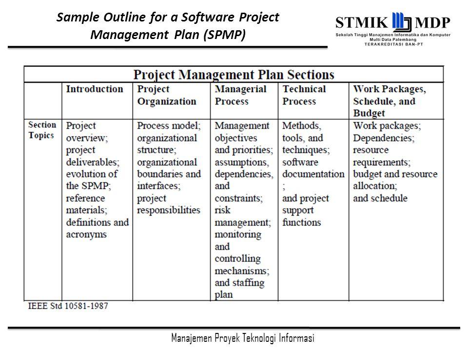 Manajemen Proyek Teknologi Informasi Sample Outline for a Software Project Management Plan (SPMP)