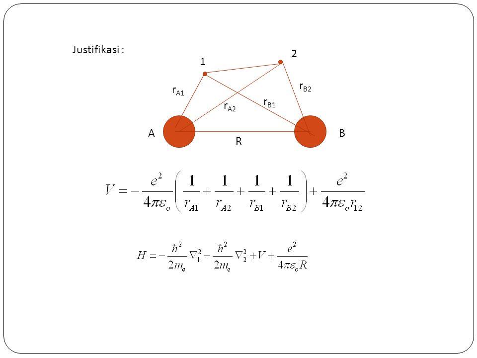 Jika fungsi gelombang pers 1) digunakan, nilai Energi pengharapan : S : Integral overlap J dan K merup kumpulan kompleks integral yg merup interaksi inti dan elektron dan tolakan antar elektron