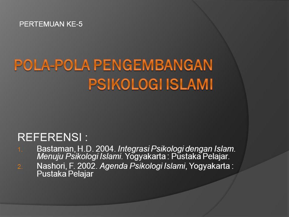 REFERENSI : 1.Bastaman, H.D. 2004. Integrasi Psikologi dengan Islam.