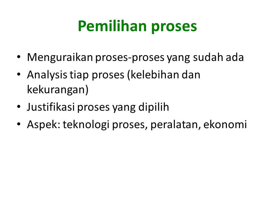 Pemilihan proses Menguraikan proses-proses yang sudah ada Analysis tiap proses (kelebihan dan kekurangan) Justifikasi proses yang dipilih Aspek: teknologi proses, peralatan, ekonomi