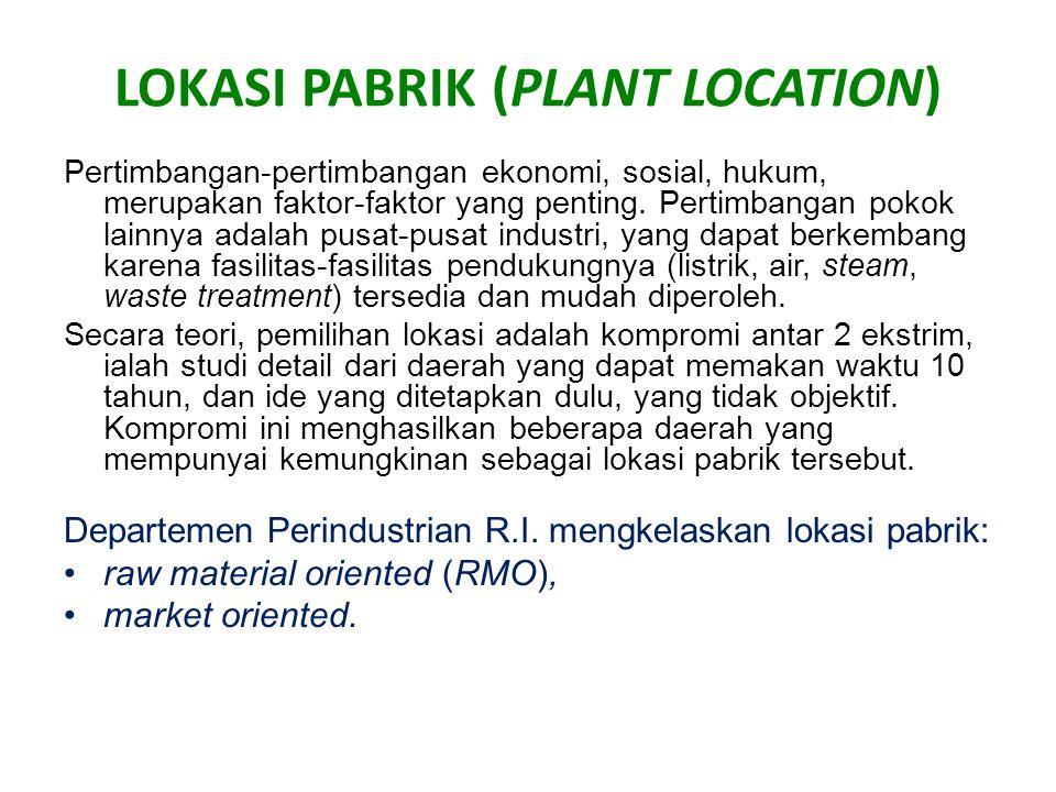 LOKASI PABRIK (PLANT LOCATION) Pertimbangan-pertimbangan ekonomi, sosial, hukum, merupakan faktor-faktor yang penting. Pertimbangan pokok lainnya adal