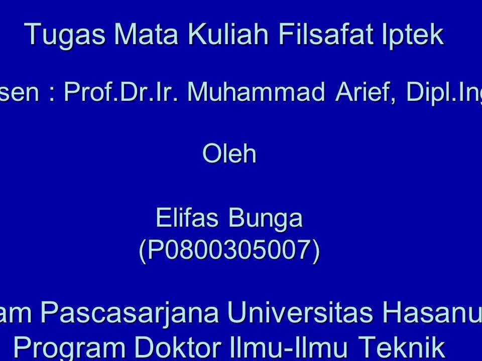 PENGENALAN FILSAFAT Tugas Mata Kuliah Filsafat Iptek Dosen : Prof.Dr.Ir. Muhammad Arief, Dipl.Ing Oleh Elifas Bunga (P0800305007) Program Pascasarjana
