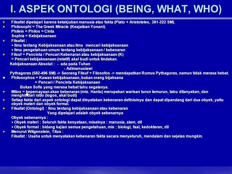 I. ASPEK ONTOLOGI (BEING, WHAT, WHO) FFFFilsafat dipelajari karena ketakjuban manusia atas fakta (Plato + Aristoteles, 381-322 SM). PPPPhiloso