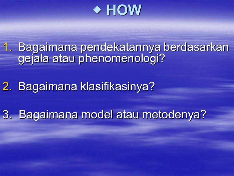  HOW 1.Bagaimana pendekatannya berdasarkan gejala atau phenomenologi? 2.Bagaimana klasifikasinya? 3. Bagaimana model atau metodenya?
