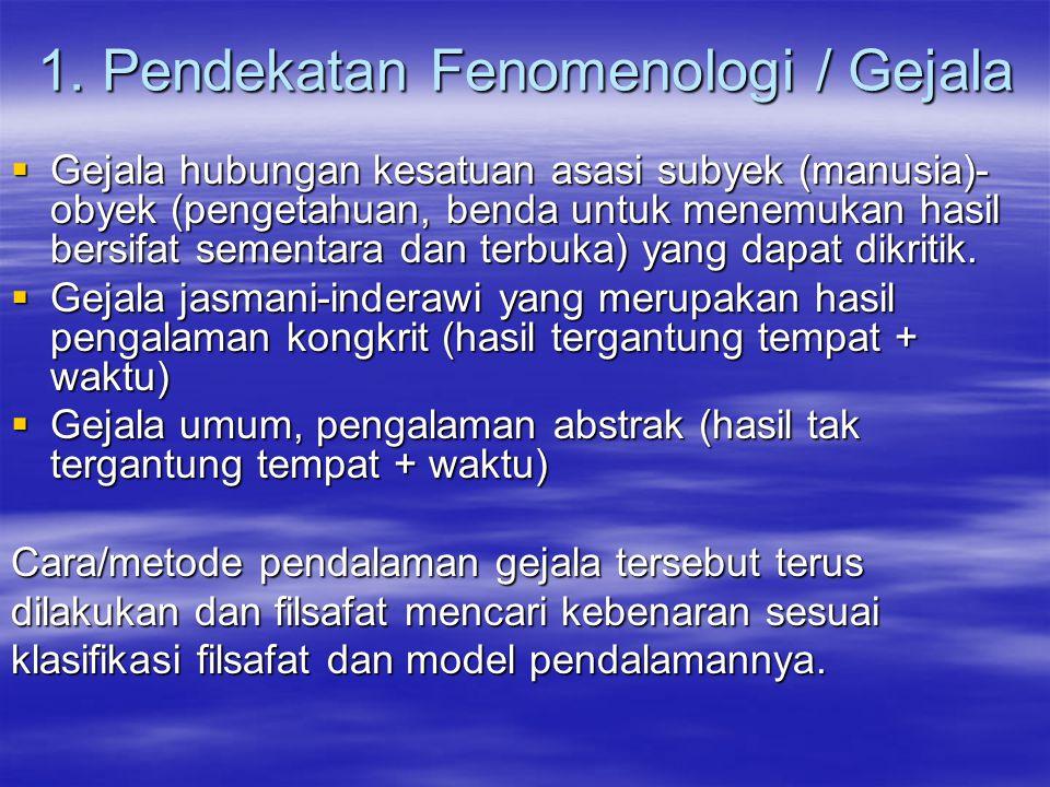 1. Pendekatan Fenomenologi / Gejala  Gejala hubungan kesatuan asasi subyek (manusia)- obyek (pengetahuan, benda untuk menemukan hasil bersifat sement