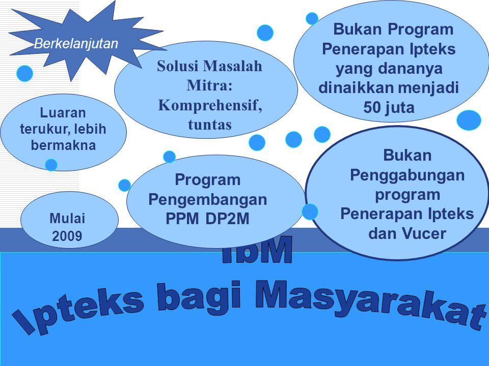 DP2M Luaran terukur, lebih bermakna Mulai 2009 Program Pengembangan PPM DP2M Solusi Masalah Mitra: Komprehensif, tuntas Bukan Program Penerapan Ipteks