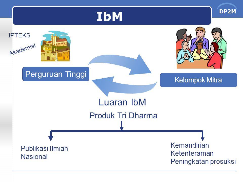 DP2M IbM Perguruan Tinggi Kelompok Mitra Akademisi IPTEKS Luaran IbM Publikasi Ilmiah Nasional Kemandirian Ketenteraman Peningkatan prosuksi Produk Tr