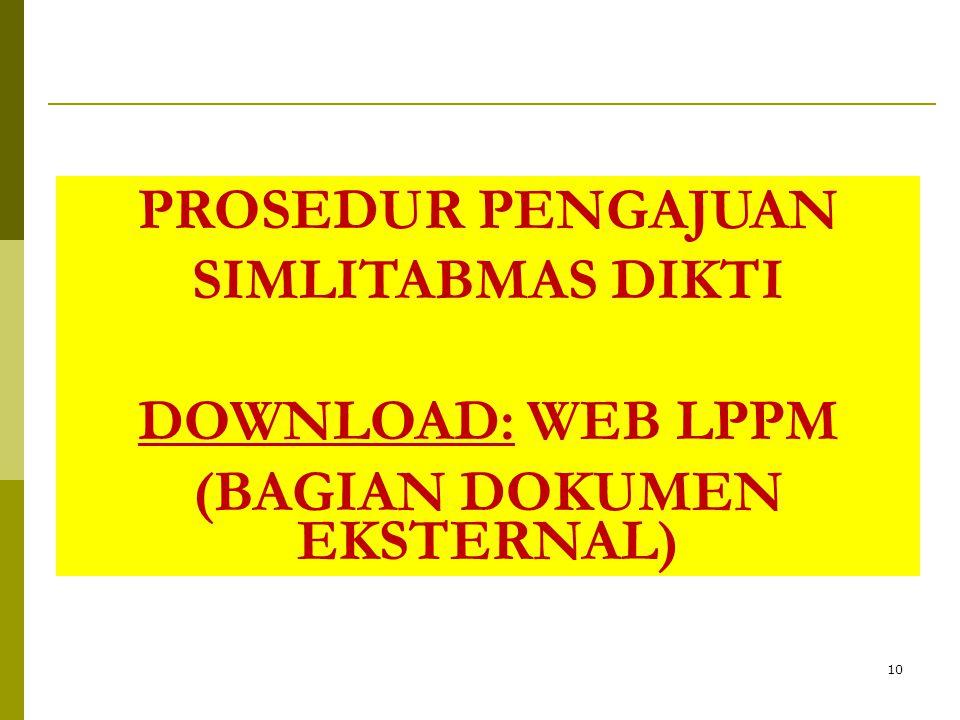 10 PROSEDUR PENGAJUAN SIMLITABMAS DIKTI DOWNLOAD: WEB LPPM (BAGIAN DOKUMEN EKSTERNAL)