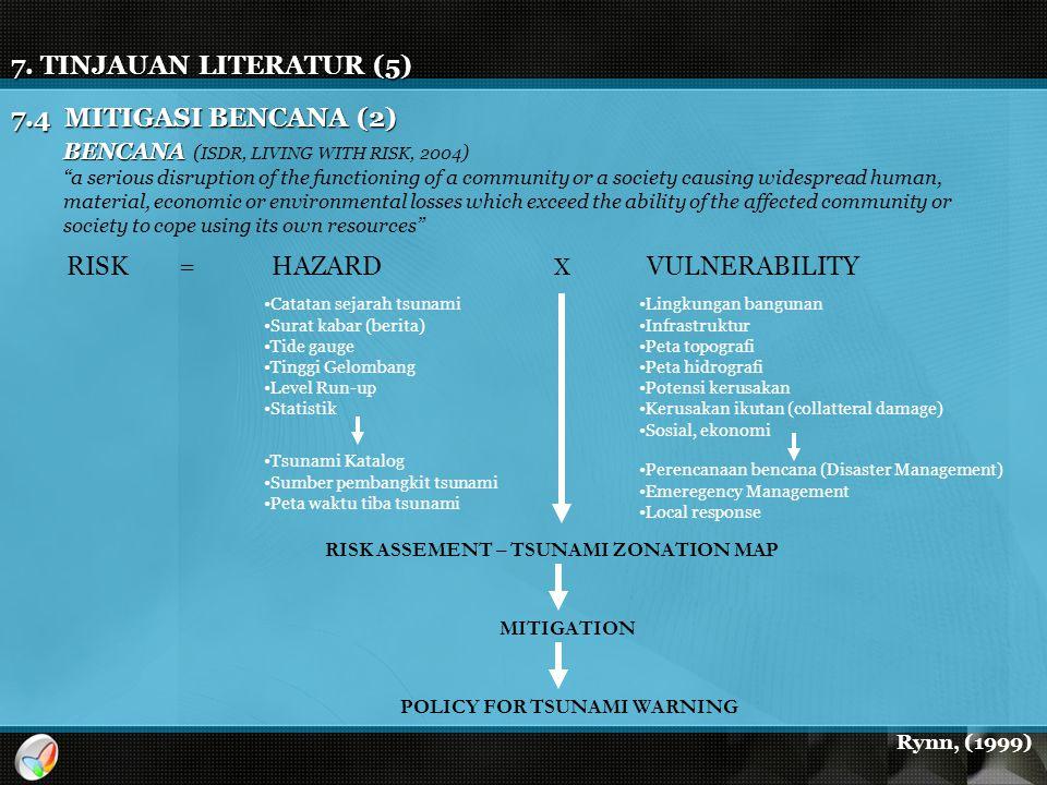 "7. TINJAUAN LITERATUR (5) 7.4 MITIGASI BENCANA (2) BENCANA BENCANA ( ISDR, LIVING WITH RISK, 2004 ) ""a serious disruption of the functioning of a comm"