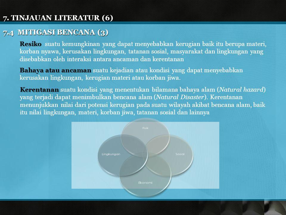 7. TINJAUAN LITERATUR (6) 7.4 MITIGASI BENCANA (3) Resiko Resiko suatu kemungkinan yang dapat menyebabkan kerugian baik itu berupa materi, korban nyaw