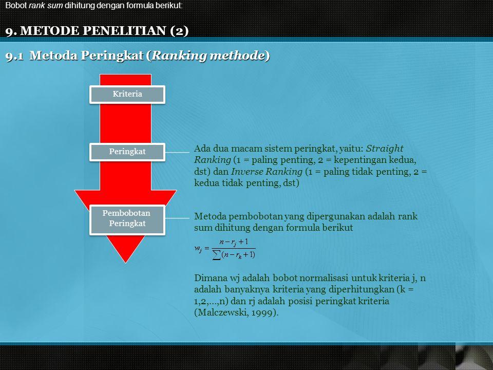 9. METODE PENELITIAN (2) 9.1 Metoda Peringkat (Ranking methode) Ada dua macam sistem peringkat, yaitu: Straight Ranking (1 = paling penting, 2 = kepen